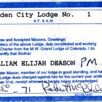 Image of Bill Deason Masons membership card