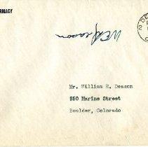 Image of William Deason's pharmacy application, envelope