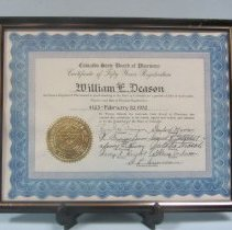 Image of William Deason's 50 years pharmacy certificate