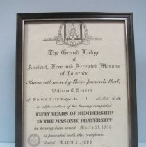Image of William Deason's 50 yrs with the Masons