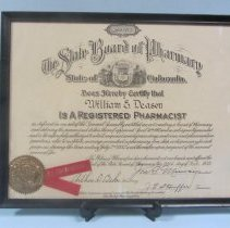 Image of William Deason pharmacist certificate