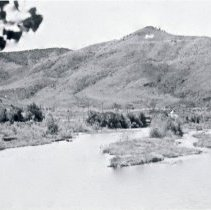 Image of Clear Creek flood near Golden in 1930s