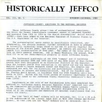 Image of Historically Jeffco magazine Volume III Number 5 with articles about different Jefferson County Colorado places, people, and events. This issue includes an article about new additions to the Nation Register of Historic Places.