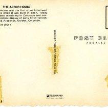Image of Astor House postcard back