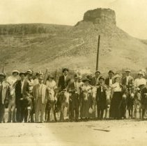 Image of Postcard with tourists at Castle Rock, c 1910