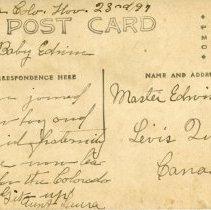 Image of back side of 1897 postcard