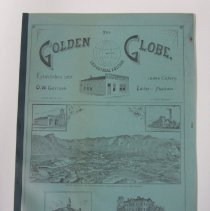 Image of The Golden Globe, Industrial Edition, May 20, 1893. Contains sixteen pages and four blue pages of front and back covers. Bound original newspaper that has been laminated. Second of four copies.  