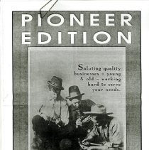 Image of Black and white photocopy of Pioneer Edition, Supplement to The Transcript, February 1990. Supplement focuses on business of Golden, Colorado at time of publishing.   Supplement has articles on The Transcript, Adolph Coors Company, Public Service Company of Colorado, Foss Drug General Store, Golden Ford Inc., First Interstate Bank of Golden N.A., Speer Furniture Company, Meyer Hardware, Plummer's Jewelry, Banks Insurance Agency Inc., Colorado National Bank- Golden, Holiday Inn- Denver West, Del's Tonsorial Parlor, Edwards Meats, Dee's Interiors, Applewood Amoco, Pizza Hut, Bender's Nu Look Cleaners, Rose Cleaners, Carleen's og Golden Inc., Steve's Corner, Mesa Imports, Foothills Chiropractic, Golden Natural Foods, Victoria's, Simms Landing, Mercantile, Front Range Office Supply Inc., New England Chowda House, Merry Maids, Applewood Village Paint and Wallcoverings, Glass on Wheels, Kwik Kopy, Golden Small Engine, Applewood Quality Builders Inc., The Country Café, Protect-a-Pet, River Sage, The Country Mouse Company, Wendy's, Goodyear Auto Service Center, Decorating Den, The Artful Framer, Crissman Cadillac, Innovative Health at Home, Andolini's Restaurant and Lounge, Body Fitness Salon, Sid's Golden 66 Service, Golden Corner Grocery, Carpet Time Brokerage Company, Sarah's Near New, Mile- Hi Maytag, Great Clips