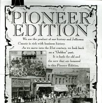 Image of Black and white photocopy of Pioneer Edition, Supplement to The Transcript, March 1997. Supplement focuses on business of Golden, Colorado at time of publishing.   Supplement has articles on AAA Pool and Spa Inc., Advantage Aviation, Airbag Service, Applewood Quality Builders Inc., Applewood Village Paint and Wallcoverings, TAF Gallery/The Artful Framer, Golden Landmarks Association, Joy Brandt Re/Max affiliates Inc., Banks Insurance Agency Inc., Beauty Bar Salon Spa, Bender's Nu Look Cleaners, Mr. B's, Body Centered Therapies Inc., B. A. Nut, Budget Tapes and Compact Discs, Club 4 Kids, Canty's Tax & Accounting Inc., Comfort Suites of Lakewood, Coors Credit Union, Country Café Restaurant, Decorating Den, Dee's Interiors, Designer Encore Inc., Elephant Bean Coffee Co., 1st National Bank of Arvada, Foothills Art Center, Foothills Bank, A Flower Cart, Genesee Business Systems Inc., Genesis Family Tree Video, GOLD-N-DETECTORS, Golden Auto Parts, Golden Mill, Golden Natural Foods, Transcript, Great Clips, The Hair Place, Hatch's Books of Golden, Jensen Appliance, Lighthouse Gifts & Books, Luke's -A Steak Place, Dona Leiper & Associates Inc., McPeek Cleaners, Metropolitan Barber Shop, Meyer Hardware, Mile High Chem Dry, Mountain Splendor, Planet Honda, Norwest Bank- Golden, Priceless Eyewear- West Lakewood, Plummer's Jewelry, Porch & Parlour, The Prime Rib Restaurant & Steak House/ The Nest Tavern, Re/Max West, Rose Cleaners, Schild & Co., Shear Excitement, Silver Feather Trading Co., Sunset Beach Wellness & Sports Club, Table Mountain Veterinary Clinic, Tessabelle's Near New Shop, Travel All, Vectra Bank, West Side Dance