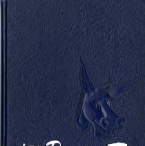 "Image of Blue, hardbound Colorado School of Mines yearbook titled "" '51 Prospector"" with image of a donkey on the cover. 200 pages"