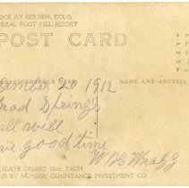 Image of 1912 postcard Castle Rock tourists, reverse side