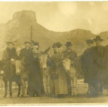 Image of 1912 real photo postcard, tourists in front of Castle Rock