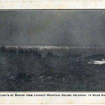 Image of 1910 postcard of Denver's lights