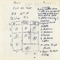 Image of blueprint drawing of Bell home