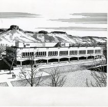 Image of drawing of Cecil H. & Ida Green Graduate and Professional Center building