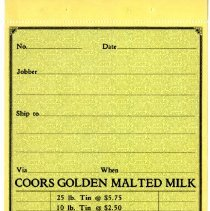 Image of Coors Golden Malted Milk receipt