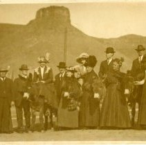 Image of Group with Castle Rock at Golden, Colo