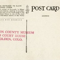 Image of postcard reverse, 5993 - Golden, Colorado, and Entrance to Clear Creek Cano