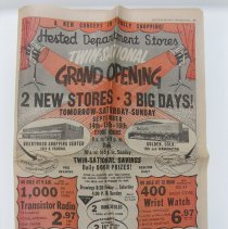Image of Newspaper section of The Denver post owned by Cliff Evans. Newspaper contains large advertisement for Hested Department Store grand opening celebration at both locations in Brentwood and Golden on September 14, 15, and 16, 1962. Evans owned the building and store.