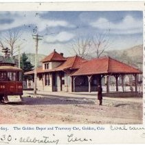 Image of 1906 The Golden Depot and Tramway Car postcard
