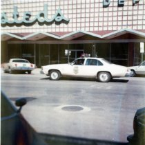 Image of Hesteds Department Store and Golden PD car