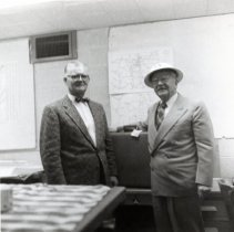 Image of Dr. Collier and unidentified man for Civil Defense