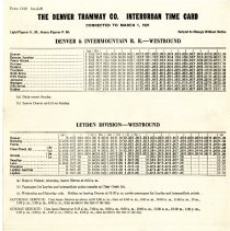 Image of 1921 Denver Tramway time table