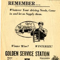 Image of Golden Service Station, newspaper ad 1954