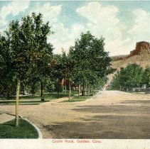 Image of colorized postcard of Castle Rock, Golden, Colo