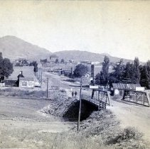 Image of 1880s bridge on Clear Creek, cabinet card, color corrected