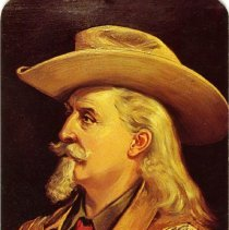 Image of Buffalo Bill in profile, postcard