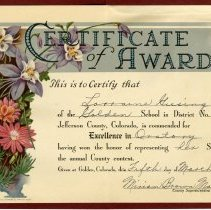 Image of Certificate of Award for Oratory 1932