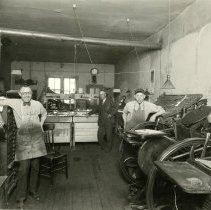 Image of Inside the Transcipt printing press room 1924