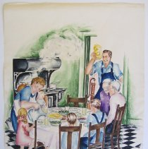Image of Verna Katona watercolor: family sitting down to supper