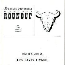 Image of Booklet - The Denver Westerners Monthly Roundup, May 1964, vol. XX, No. 5 - Notes on a Few Early Towns of Jefferson County by Francis B. Rizzari