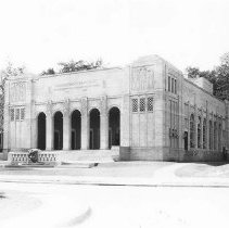 Image of Norton Hall Frontal View with Fountain - Wagner, Harold