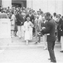 Image of Mrs. Edison outside Norton Hall - Wagner, Harold