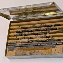 Image of #41b  Tin Flip Top Covered Type Box Stamped 739w, Steel Months, Years (1948