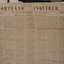 Image of Portland Inquirer, 1853 January 13 issue - 1853 January 13 issue of the Portland Inquirer.  The Portland Inquirer is the last permutation of a series of anti-slavery newspapers in Portland and Maine.  It was one of three party politics abolitionist papers: the Liberty Standard and the Free Soil Republican being the other two.   It ran from 1851-1855 and then merged with the Maine Temperance Journal to become the Maine Temperance Journal and Inquirer.  The Advocate of Freedom, the organ of the Maine Anti-Slavery Society was the first Anti-Slavery newspaper in Portland.  Editor Austin Willey worked on the Advocate of Freedom, the Liberty Standard, the Free Soil Republican and the Portland Inquirer.