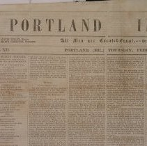Image of Portland Inquirer, 1853 February 10 issue - 1853 February 10 issue of the Portland Inquirer.  The Portland Inquirer is the last permutation of a series of anti-slavery newspapers in Portland and Maine.  It was one of three party politics abolitionist papers: the Liberty Standard and the Free Soil Republican being the other two.   It ran from 1851-1855 and then merged with the Maine Temperance Journal to become the Maine Temperance Journal and Inquirer.  The Advocate of Freedom, the organ of the Maine Anti-Slavery Society was the first Anti-Slavery newspaper in Portland.  Editor Austin Willey worked on the Advocate of Freedom, the Liberty Standard, the Free Soil Republican and the Portland Inquirer.