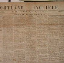 Image of Portland Inquirer, 1853 January 6 issue - 1853 January 6 issue of the Portland Inquirer.  The Portland Inquirer is the last permutation of a series of anti-slavery newspapers in Portland and Maine.  It was one of three party politics abolitionist papers: the Liberty Standard and the Free Soil Republican being the other two.   It ran from 1851-1855 and then merged with the Maine Temperance Journal to become the Maine Temperance Journal and Inquirer.  The Advocate of Freedom, the organ of the Maine Anti-Slavery Society was the first Anti-Slavery newspaper in Portland.  Editor Austin Willey worked on the Advocate of Freedom, the Liberty Standard, the Free Soil Republican and the Portland Inquirer.