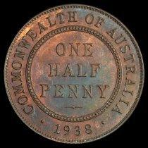 Image of 1938 1/2 penny, Australia rev
