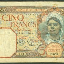 Image of 1924-41 5 Francs, KM-77 (2008), Algeria.  - 2010.0037.0165