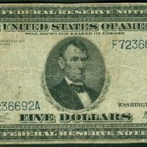 Image of Federal Reserve Note: Five Dollar o