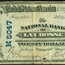 Image of The National Bank of LaCrosse: Twenty Dollar o