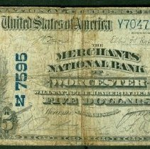 Image of Merchants National Bank, Worcester Five Dollars o