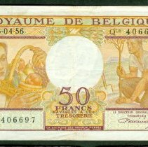 Image of March 4, 1956 50 Francs, KM- 133b, Belgium. - 2002.0002.0030