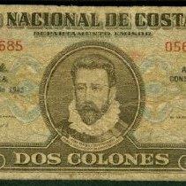 Image of 4/7/1943, 2 Colones, KM-201a (2008), Costa Rica - 1979.0138.0081