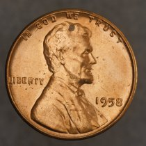 Image of 1958 Lincoln Wheat Small Cent, Breen 2222, US O.