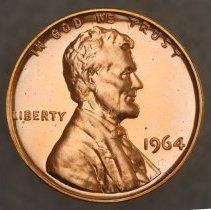 Image of 1964 Lincoln Memorial Small Cent, Proof, Breen 2242, US  - 1981.0120.0017